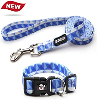 azuza Dog Collar and Leash Set, Pattern Printing,Adjustable Nylon Collar with Matching Leash for Small Medium Large Dogs