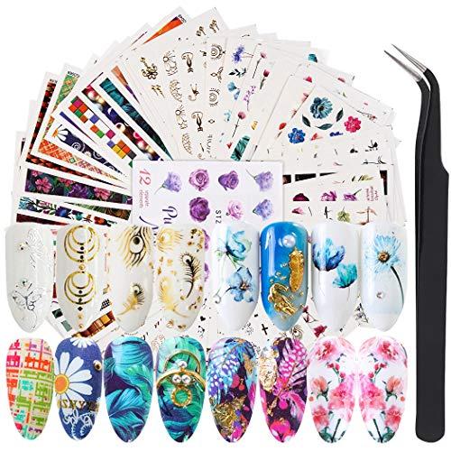FunPa Calcomanías y Autoadherentes, 78 Hojas Etiqueta Engomada del Arte del Clavo 3D Puntas de Uñas Autoadhesivas Decoración con Pinzas para uñas para Mujeres Niñas Manicura DIY Nail Art accesorios