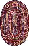 nuLOOM Tammara MGNM04A - Alfombra Trenzada a Mano, 1,5 m x 2,3 m, Multicolor