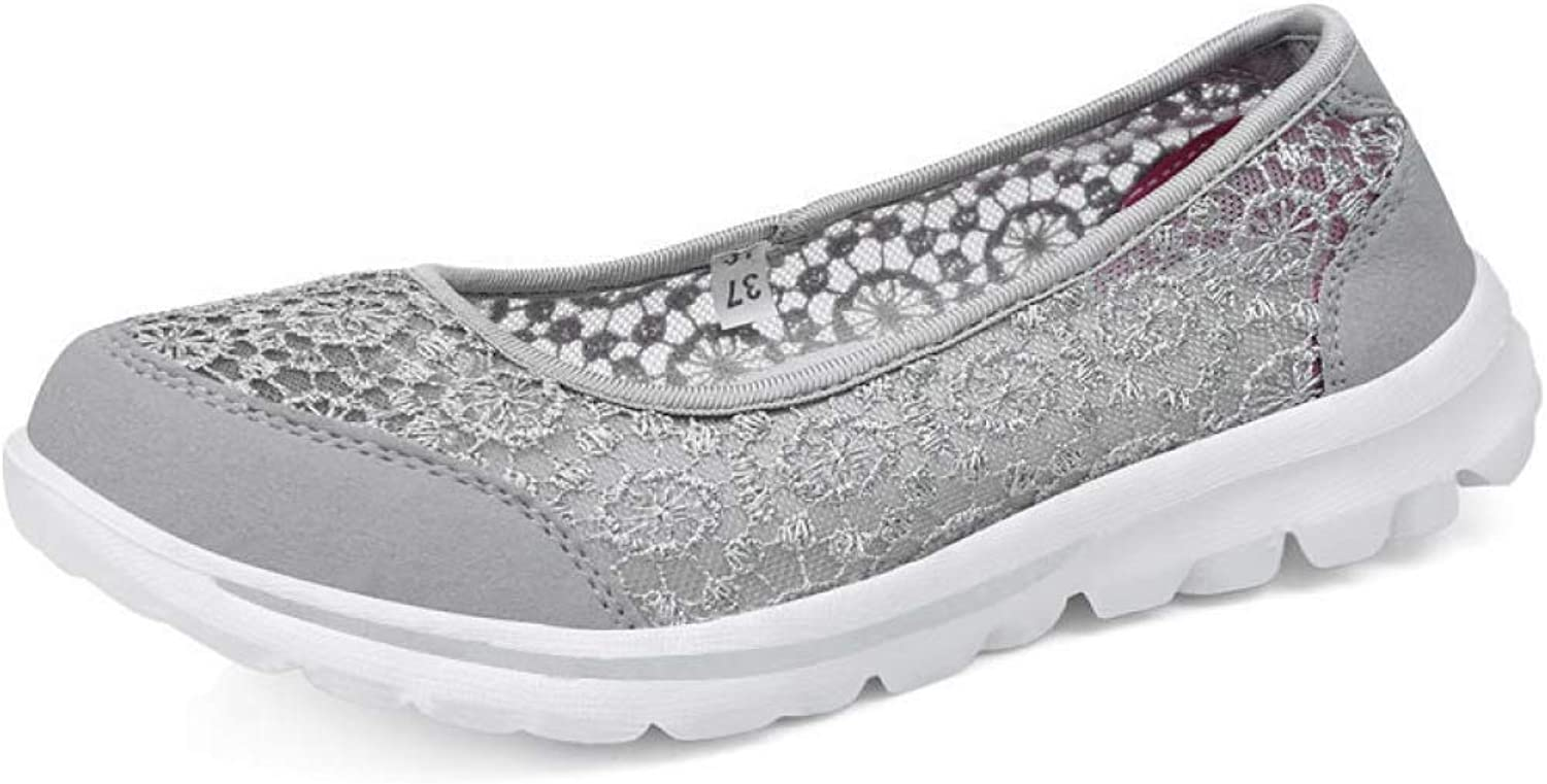 DETAIWIN Women Breathable Flats Loafers shoes Slip On Lightweight Flower Comfort Lace Shallow Platform Sneakers