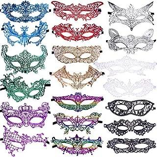 SIQUK 20 Pieces Lace Masquerade Mask Women Venetian Masks, 9 Colors