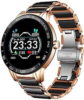 KYLN Reloj Inteligente para Mujer Reloj Inteligente Ritmo cardíaco Presión Arterial Rastreador de Ejercicios Relojes con Correa de cerámica Reloj Inteligente a Prueba de Agua