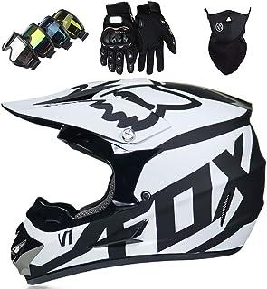 Motorradhelm - Motocross Helm Set - Dirt Bike Fullface Offroad Motorrad Helm mit Schutzbrille Geeignet für Kinder von 5 Bis 14 Jahren mit Fox Design - Schwarz-Weiss - S/M/L/XL,L