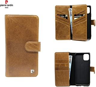 Pierre Cardin Leather Wallet Series Booktype cover voor de Apple iPhone 11 Pro - Bruin - Echt Leer