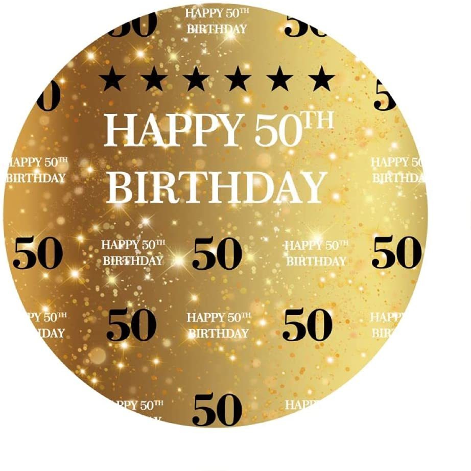 Leowefowa 2.2x2.2m Polyester Round 50th Backdrop SEAL limited product Birthday Backdr Cheap sale
