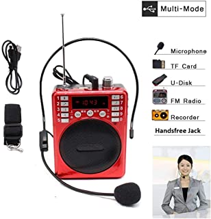 SaleOn™ Rechargeable Portable Multimedia Speaker Megaphone with Wired Microphone Loudspeaker Headset for Teacher Guider Trainer and FM radio TF Micro SD Card USB input Earphone Jack Voice Recording(Red)-