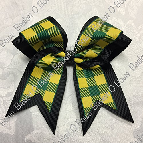 Small Bow ~ Forest Green with Yellow/Gold Buffalo Plaid Hair Bow ~ 2-layer ~ Made to Order