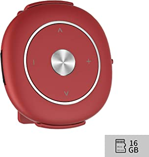 Mp3 Player with Clip and FM Radio 16GB Micro SD Card Mp3 Music Player Lossless Expandable up to 128GB Electronics (Red)