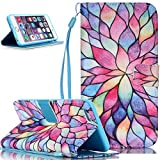 iPhone SE Case,iPhone 5S Case,NSSTAR Beautiful Painted Pattern Flip PU Leather Fold Wallet Pouch Case with Stand Credit Card ID Holders Case Cover for Apple iPhone SE 2016 & iPhone 5S 5,Flower Petals