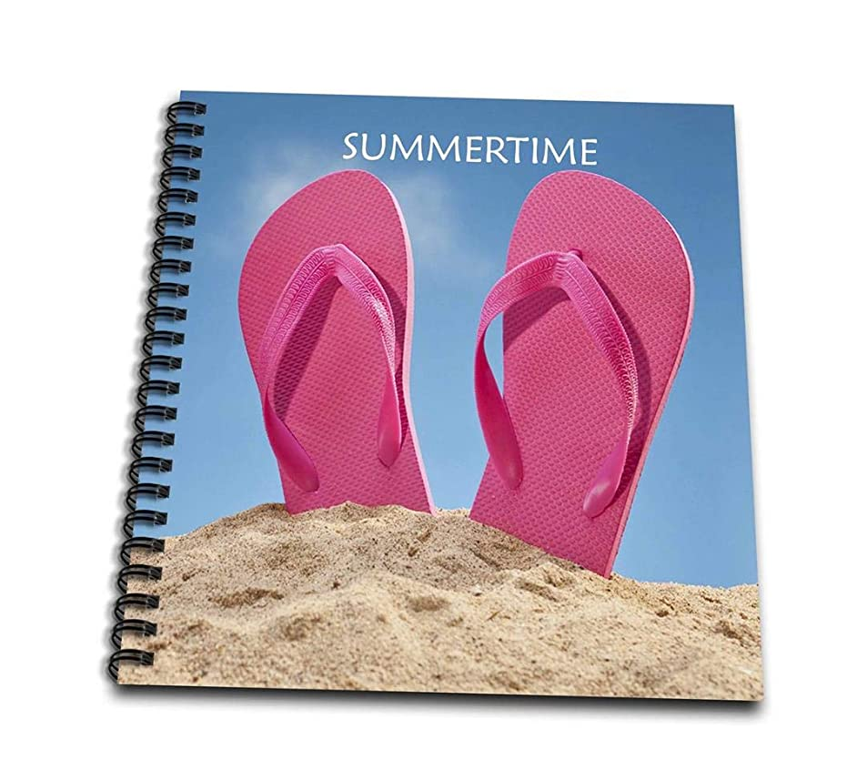 3dRose db_50869_1 Pink Summer Flip Flops on Beach-Drawing Book, 8 by 8-Inch