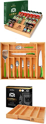 discount Bamboo Kitchen outlet sale Drawer Organizer - 4-Tier Bamboo Spice Rack Organizer for Drawer, high quality Expandable Silverware Organizer/Utensil Holder and Cutlery Tray & Expandable Utensil Drawer Organizer online sale