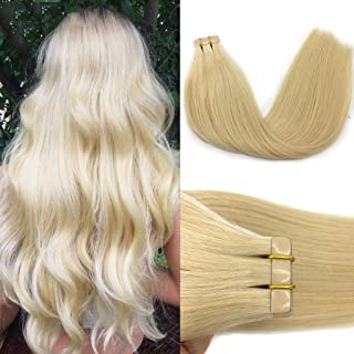 GOO GOO Tape in Hair Extensions Bleach Blonde Real Human Hair Extensions Tape in 20pcs 50g Per package Remy Hair Extensions Natural Straight 18inch