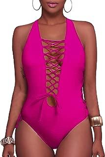 Holipick Women Sexy One Piece Swimsuit Lace up Monokini Plunge Cutout Bathing Suit