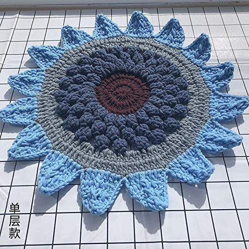 Alfombra De Baño Cojín Tejido A Mano Crochet Lana Girasol Flor Jardín De Infantes Cojín De Silla De Dibujos Animados-37Cm De Diámetro_Capa Única Azul Cielo