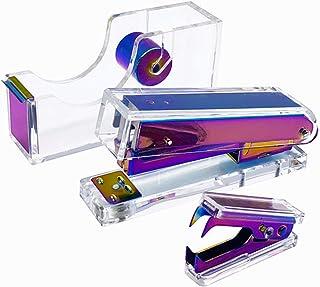 Clear Acrylic Rainbow Stapler Staples Remover Tape Dispenser Holder Set Office Desk Executive Manual Stationery Gift Kit f...