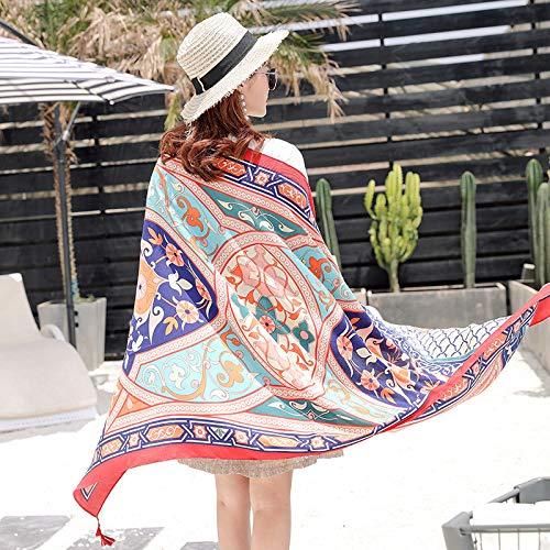 Vcnhln Bufanda étnica de Sarga Estampada en algodón para Mantener el Calor, Bufanda Tipo Chal Anti-sai en Constante Cambio para Mujer
