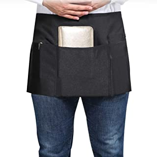 SONGXIN Server Aprons with 3 Deep Pockets - Waist Apron Waiter Waitress Apron Water Resistant Added Long Waist Strap Reinforced Seams Half Apron for Women Man Restaurant Apron, Black