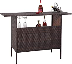VINGLI Outdoor Wicker Bar Table with 2 Steel Shelves, 2 Sets of Rails, Rattan Bar Counter Table for Backyard, Poolside, Ga...