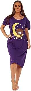 Apparel Ladies Nightwear Round Neck Star Moon Printed Short Sleeve Nightie Nightshirt