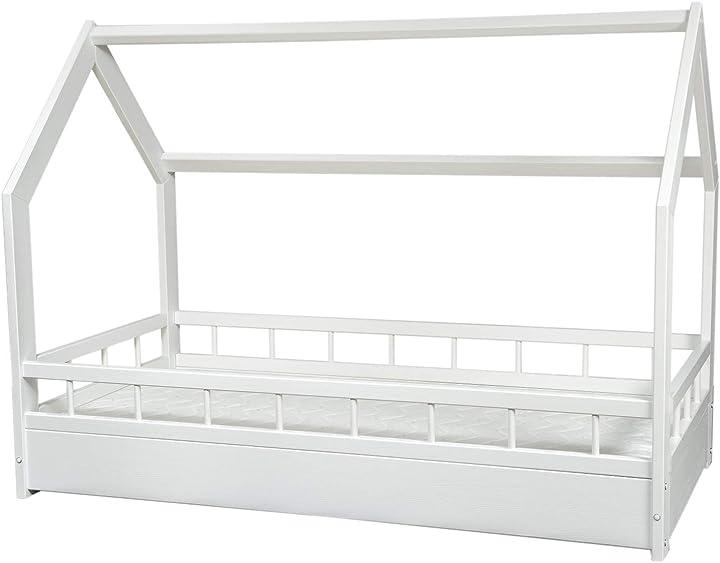 Letto scandinavo per bambino 160x80cm+sponde (colore del letto: bianco) completo letto&casa+materasso eco B07R9VX474