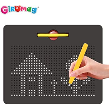 Fun Design /& Draw Travel Tablet w// 748 Built-in Magnetic Balls Matching Stylus Pen /& Easy Carry Handle Clean Playmags Magna Drawing Board Creative Fun /& STEM Education for Toddlers Age 3+ Red