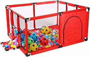 PNFP Playpens Portable Baby Indoor Large Playyard with Football Box and Mat  Safety Folded Boys Girls Activity Center Area Fence  Easy Assembly  Color Red