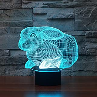 3D Rabbit Night Light Table Desk Optical Illusion Lamps 7 Color Changing Lights LED Table Lamp Xmas Home Love Brithday Children Kids Decor Toy Gift