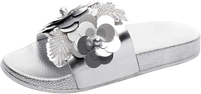 FAMOORE Wedge Sandals For Women 10 Wide Women's Fashion Furry Pearls Flip-Flops Slippers Wedge Casual Flip-Flops