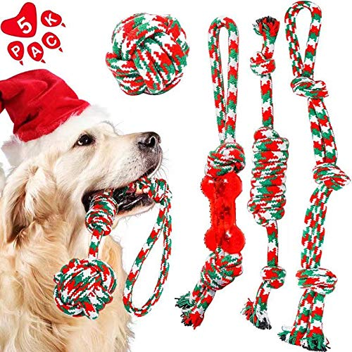 HETOO Dog Rope Chew Toys 5 Pack for Small Medium Dogs Puppy Training Playing Teething Cleaning