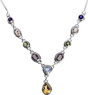 Ravishing Impressions Jewellery Citrino, topacio azul, cuarzo ahumado, peridoto y amatista, collar de plata de ley 925, ma...