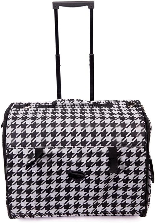 Aoligei Nylon Foldable Trolley Case Bag Portable pet Dog Suitcase cat cage, 48cm38cm33cm