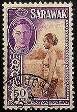Iban Woman, Sarawak -Handmade Framed Postage Stamp Art 20291AM