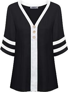MOQIVGI Womens Half Sleeve Contrast Color Vneck Button Trim Loose Fit Chiffon Blouse Tops