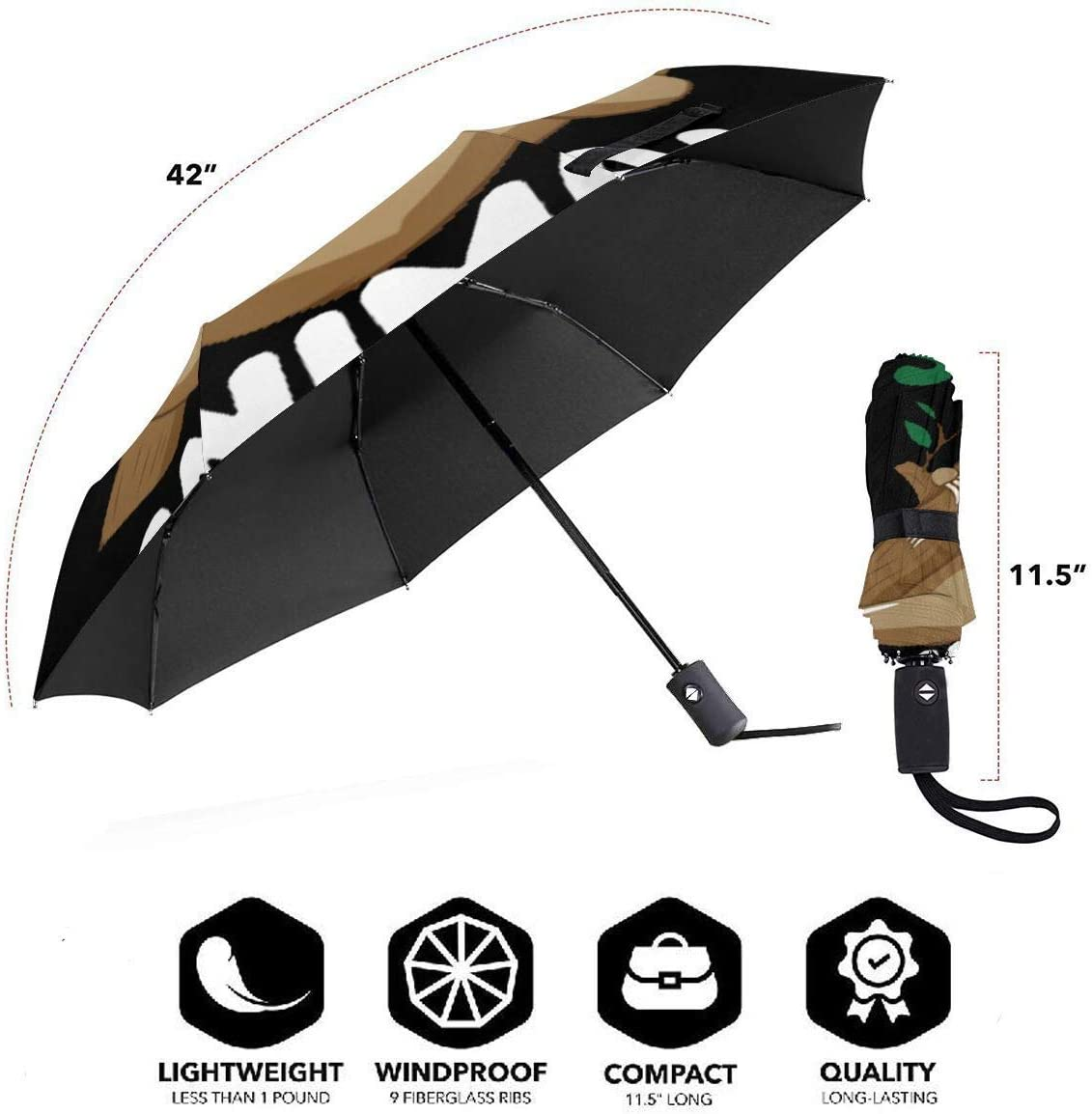 Anti-Slip Rubberized Grip aocostton Sweet Sloth Automatic Umbrella,Anti Uv Folding Sunblock Umbrella Windproof Sun Protection 11.5 Inch Compact and Lightweight