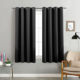 Blackout Curtains for Bedroom 63 inches Long Triple Weave Window Curtain Panels for Living Room 2 Panels Room Darkening Thermal Insulated Drapes Grommet Top, Black