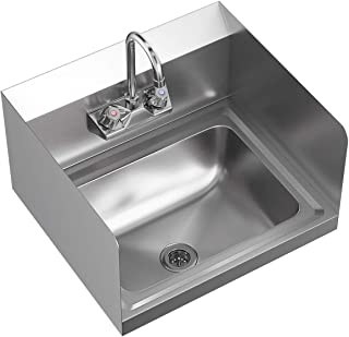 Giantex Commerical Washing Sink NSF Stainless Steel Wall Mount Hand Washing Basin with Faucet & Side Splashes Heavy Duty Hot & Cold Temperature Water Inlet