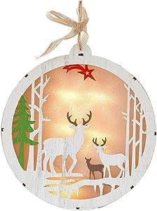 YANKAN Luz Decorativa Led,Navidad Decoracion Luces,(Esqueleto De Madera Redondo Los Ornamentos del áRbol De Navidad Elk Viejo Escritorio De IluminacióN)