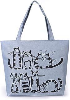 Henreal Handtaschen Damen Tasche mit Cartoon-Katzen-Print Tote Bag Cotton mit Reißverschluss um das Herunterfallen von Geg...