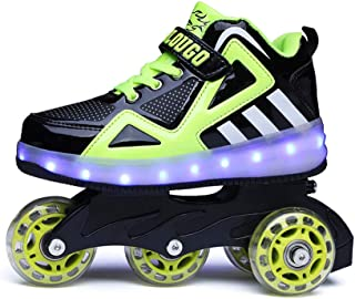 AIkuass USB Rechargeable LED Light Up Child's Inline Skates Can Be Sneakers for Kids Boys Girls