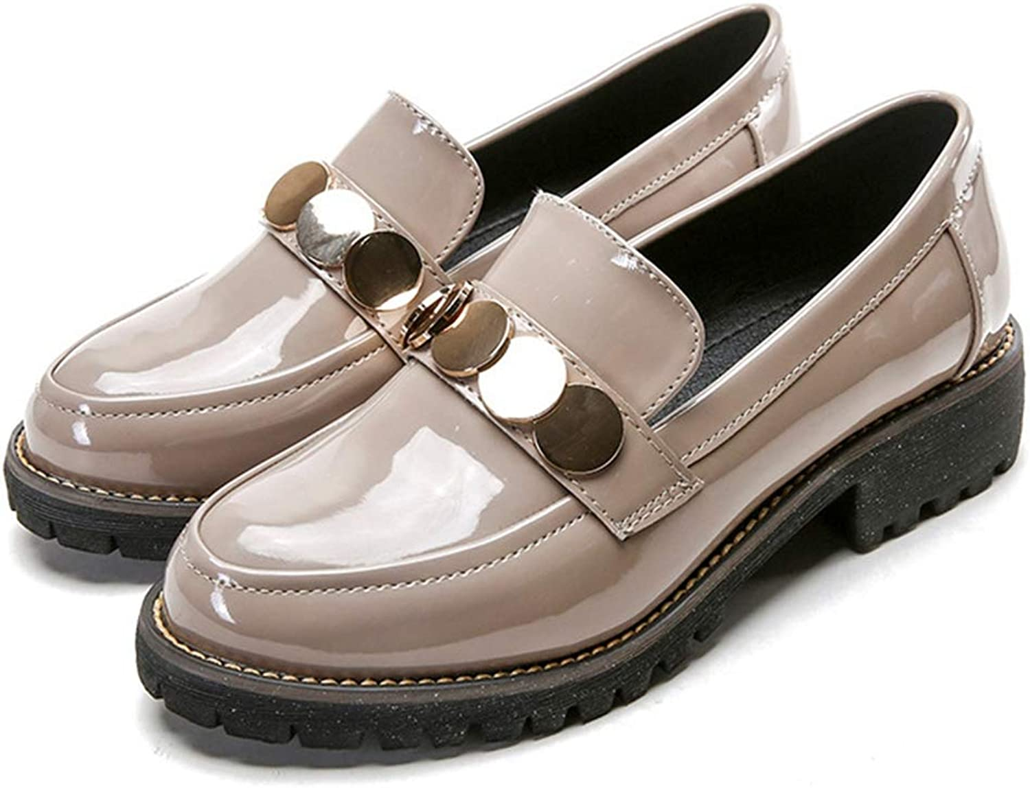CYBLING Women's Round Toe Patent Leather Slip On Oxfords Low Heel Loafers shoes
