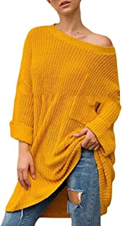 Womens Off Shoulder Sweater Knit Jumper Long Sleeve Baggy Solid Tunic Sweater