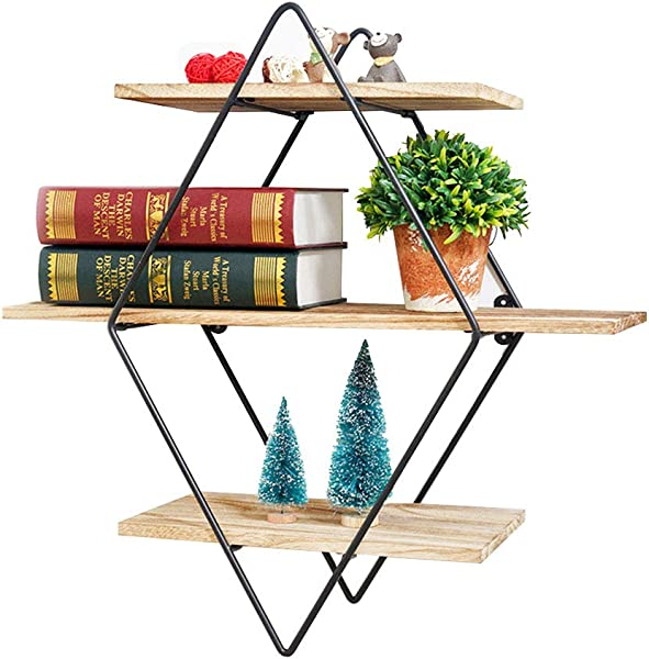 Salafey Geometric Shelves Floating Shelves 3 Tier Diamond Wall Shelf Rustic Wooden Metal Vintage Decorative Shelf For Farmhouse D Cor Living Room Kitchen Bedroom