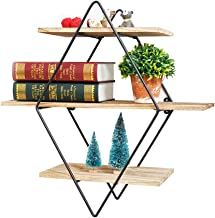 Salafey Geometric Shelves Floating Shelves,3-Tier Diamond Wall Shelf,Rustic Wooden Metal Vintage Decorative Shelf for Farmhouse Décor Living Room,Kitchen,Bedroom