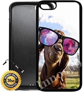 Custom iPhone 7 Plus Case (Goat With Sunglasses Nebula) Edge-to-Edge Rubber Black Cover with Shock and Scratch Protection   Lightweight, Ultra-Slim   Includes Stylus Pen by Innosub