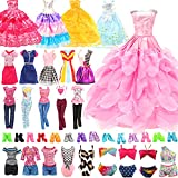 BM 22 Pack Doll Clothes and Accessories 4 PCS Fashion Dresses 2 Tops and Pants Outfits 2 PCS Party Dresses 4 Sets Swimsuits Bikini 10 pcs Shoes for 11.5 inch Doll