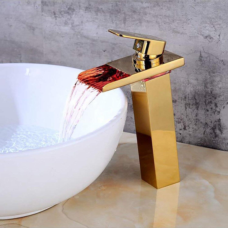 MWPO Badzubehr, einfach zu bedienen und benutzerfreundlich LED Farbwechsel Wasserhhne Bad Wasserfall Wasserhahn Gold Becken hei und kalt Kreative Mischbatterie