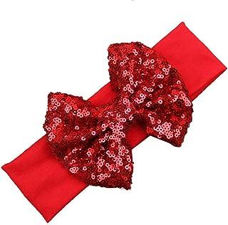 Pulabo Navidad tocado nuevo bebé diadema de gran tamaño brillante arco pelo banda algodón accesorios para el cabello niños...