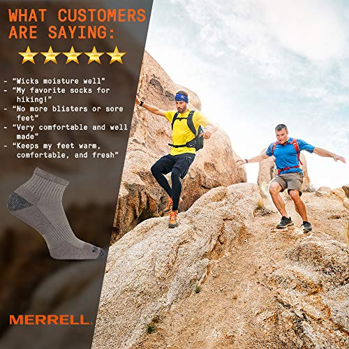 Merrell Men's 3 Pack Cushioned Performance Hiker Socks (Low/Quarter/Crew Socks), Charcoal Black (Quarter), Shoe Size: 9.5-12