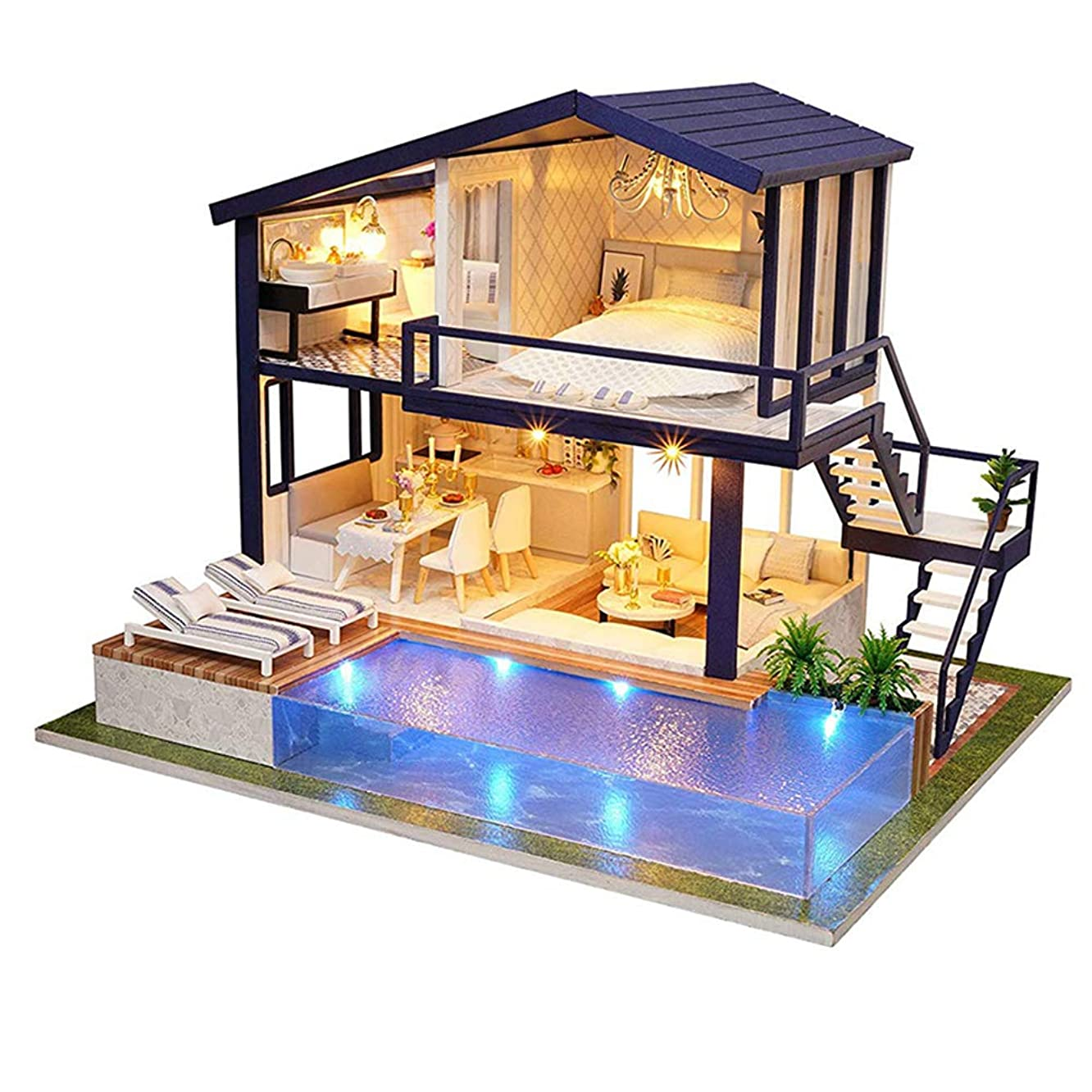 xxiaoTHAWxe DIY Dollhouse Toy, DIY Miniature Dollhouse Furniture Swimming Pool Building Villa Model Kids Toy Learning Development for Children Kids Boys and Girls