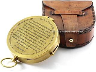 Valentines Gift idea Vintage Brass Compass with Handmade Leather Case/E.E. Cummings Directional Magnetic Compass for Navigation/Push Button Pocket Compass for Camping, Hiking, Touring